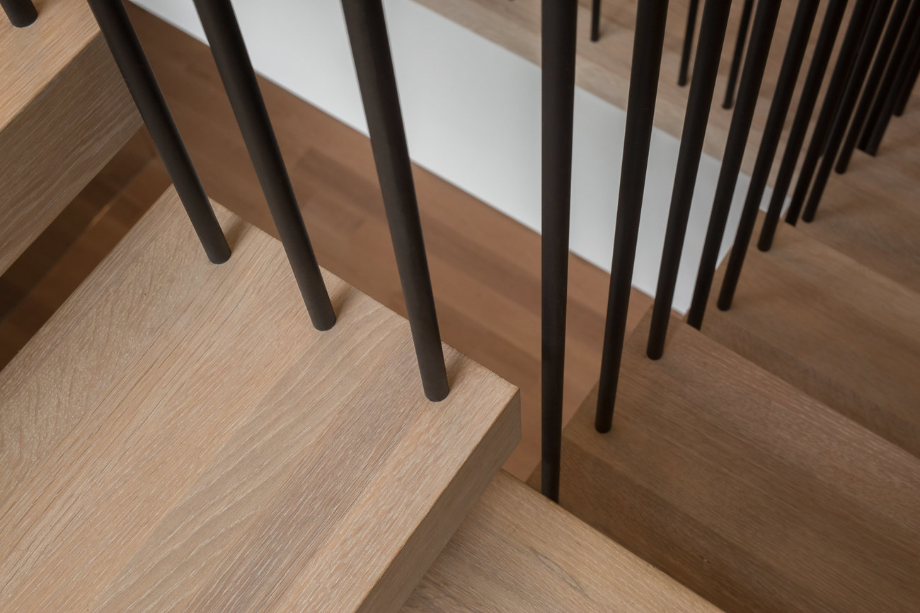 Spindles drilled into treads
