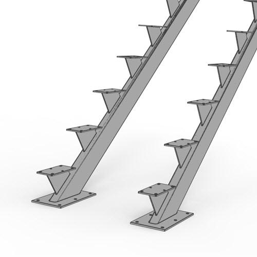 Double tube floating stair stringer