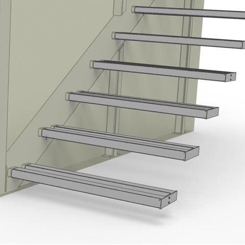 Hidden stringer cantilevered tread support