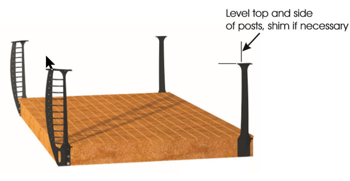 Illustration of cable railing posts being installed on a deck, level top and sides of post.