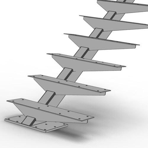 Cantilevered rectangular tube floating stair