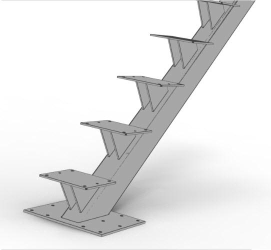 Square tube mono stringer with blade treads illustration