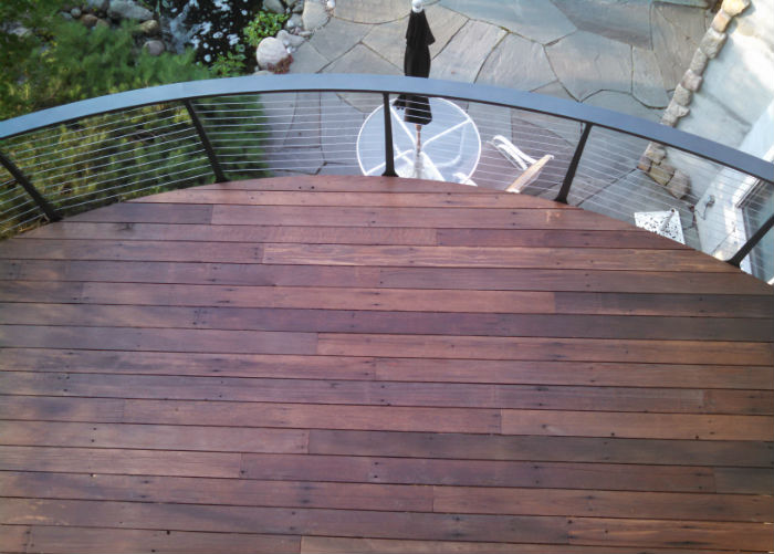 Looking down on Curved Ipe deck with cable railing system