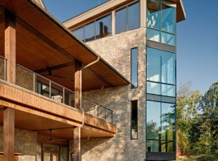Deck cable railings system on corporate retreat center