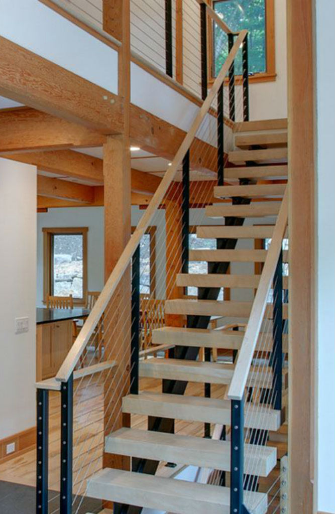 Maple staircase with maple handrail.