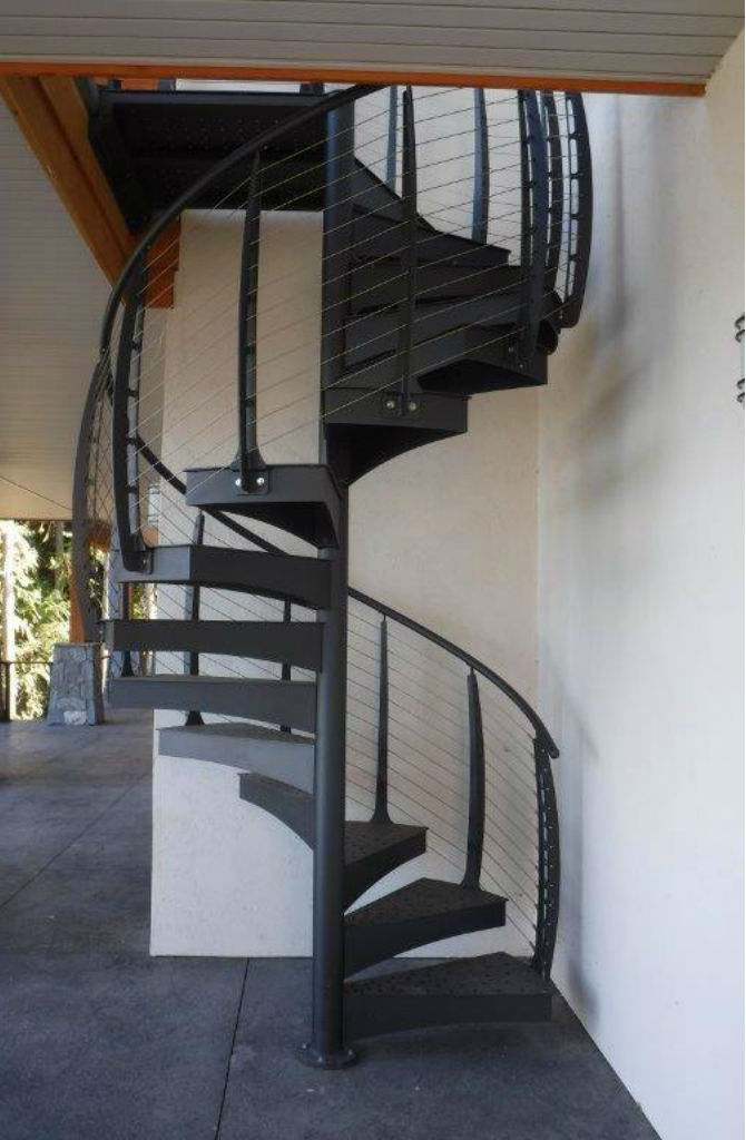 Spiral staircase with steel treads.