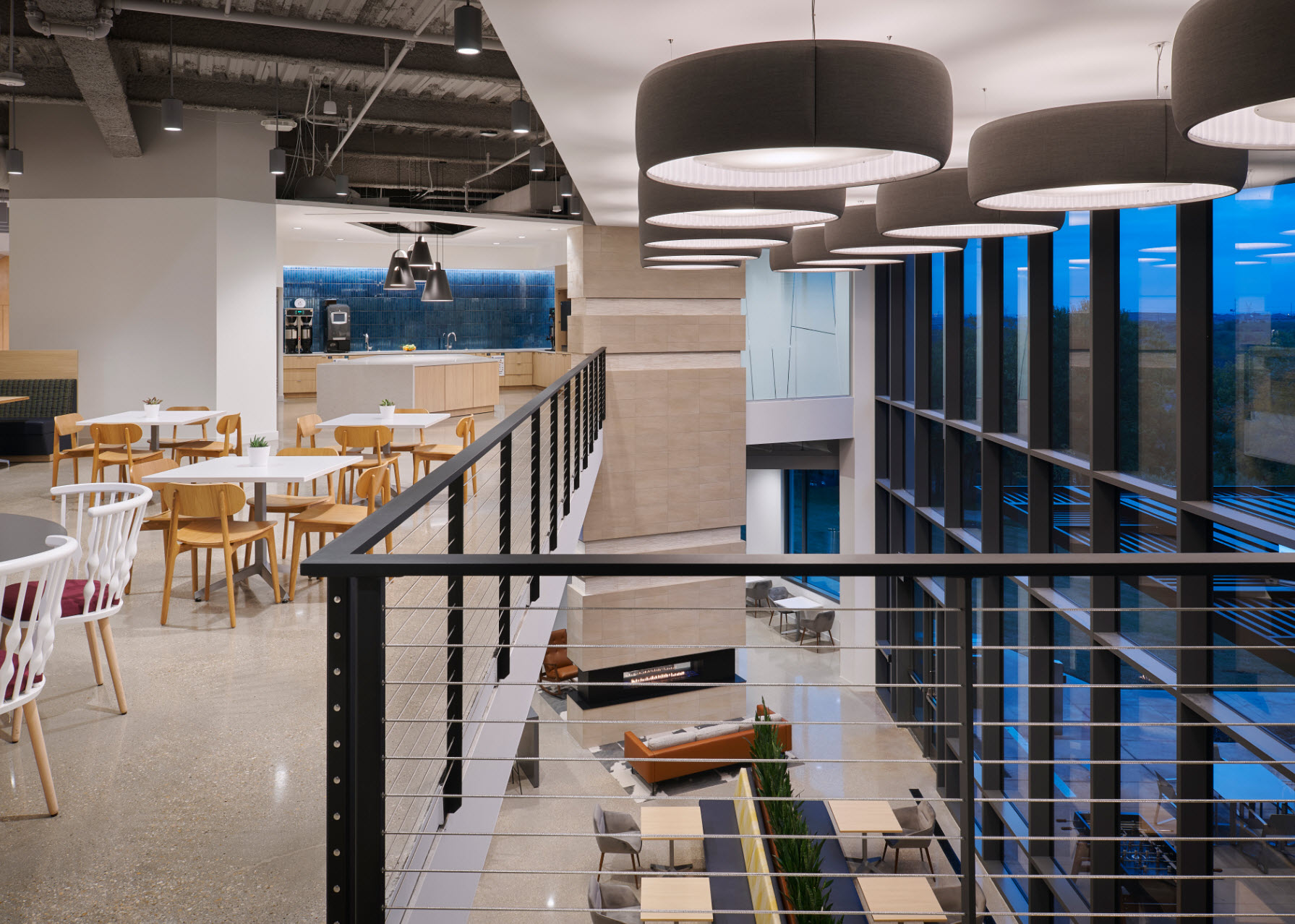 Office Mezzanine with Keuka Studios Cable Railing