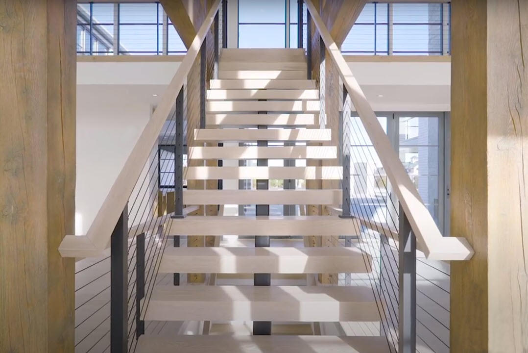 Modern Farmhouse Staircase with Floating Staircase