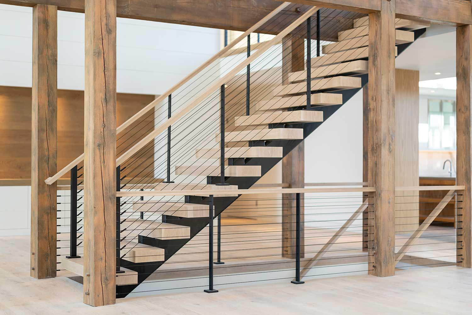 Rustic Timber Structure with Black cable railing system