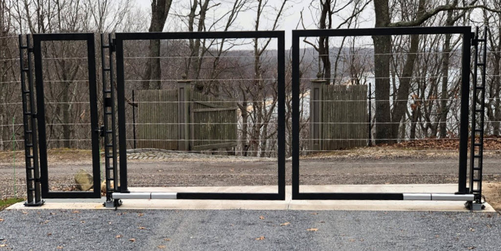 Driveway gate with man door and cable infill