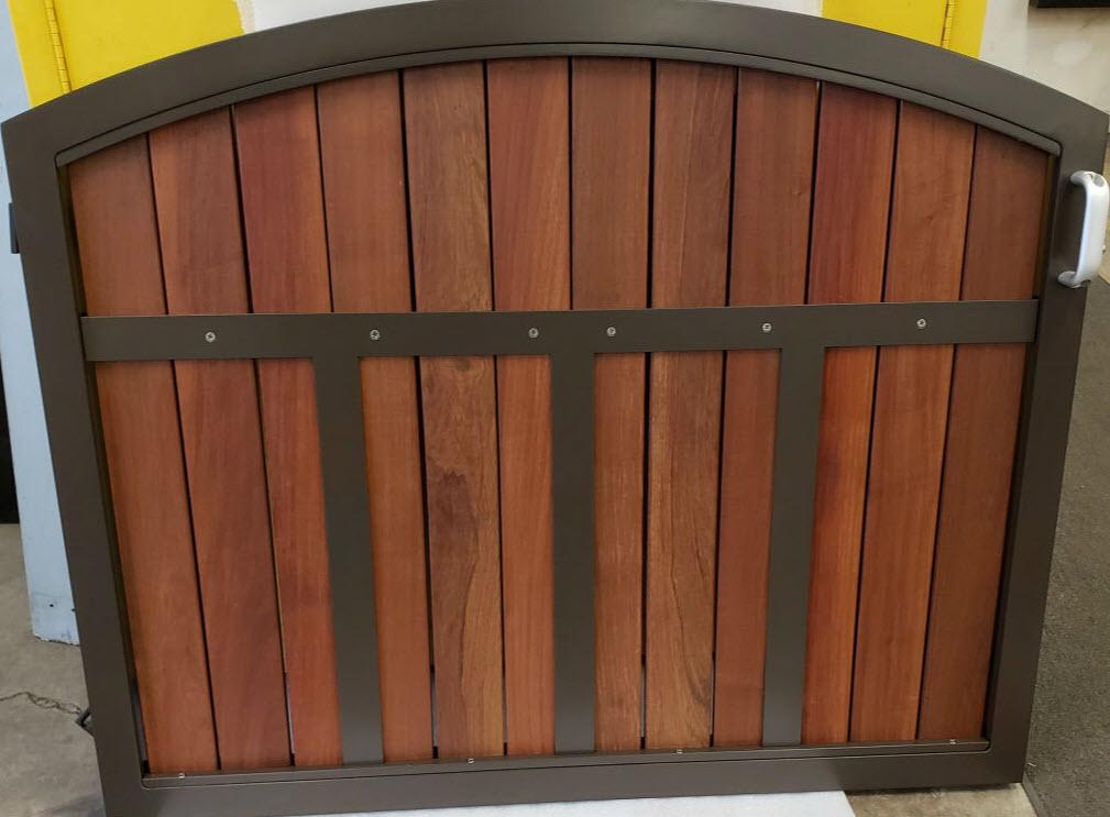 Wood panel railing gate