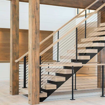 Black Cable Railing System Floating Stairs-Hamptons, NY