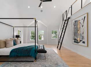 Loft ladder to yoga space with cable railing