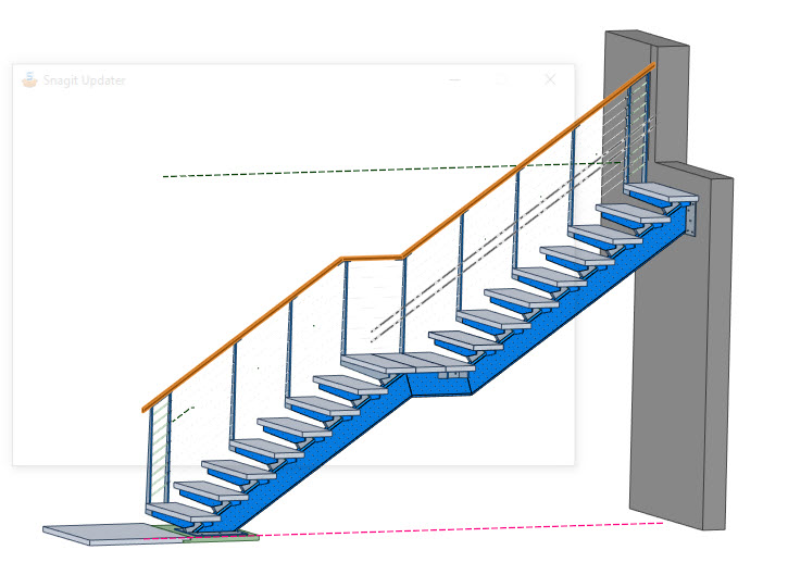 Rendering of stone steps on biased cantilever staircase.