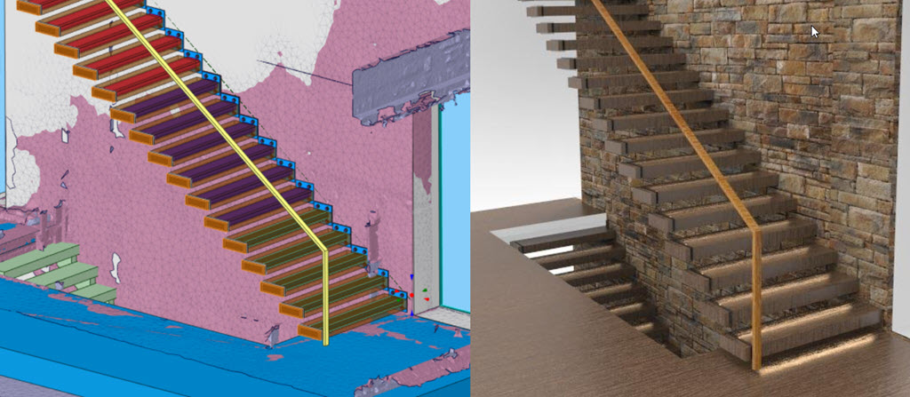 Mesh image of stairs with rendering image for visualizing the finished product.