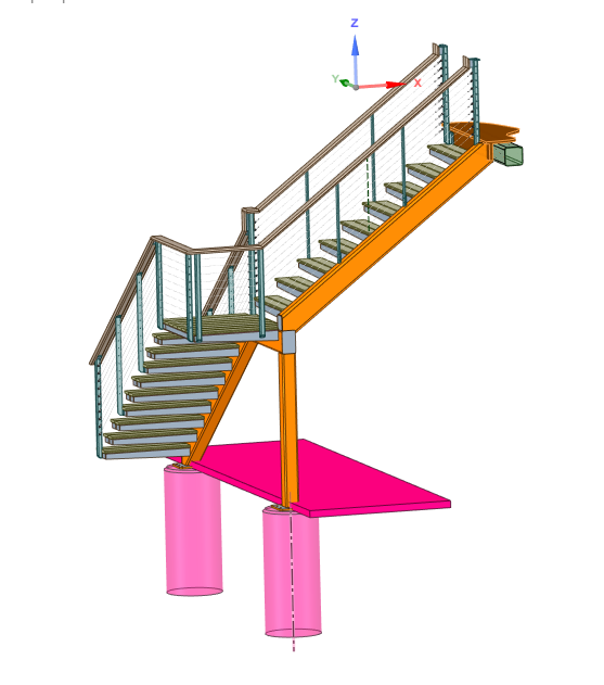 Rendering showing the structure of cantilever stairs