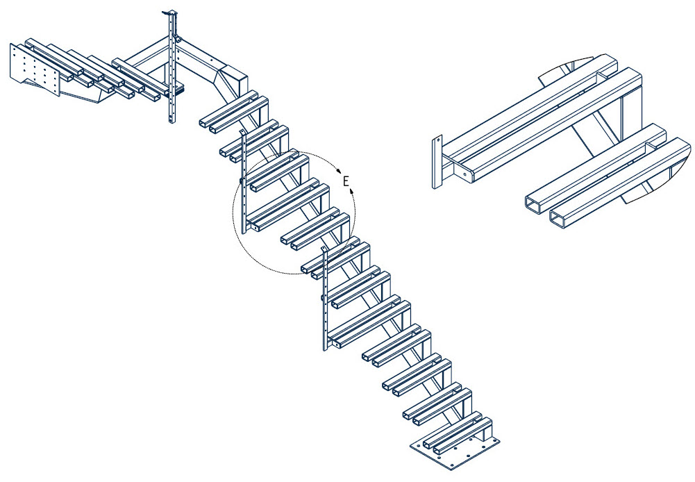 Drawing of cantilevered stair that wraps around the landing and transitions to the next floor.