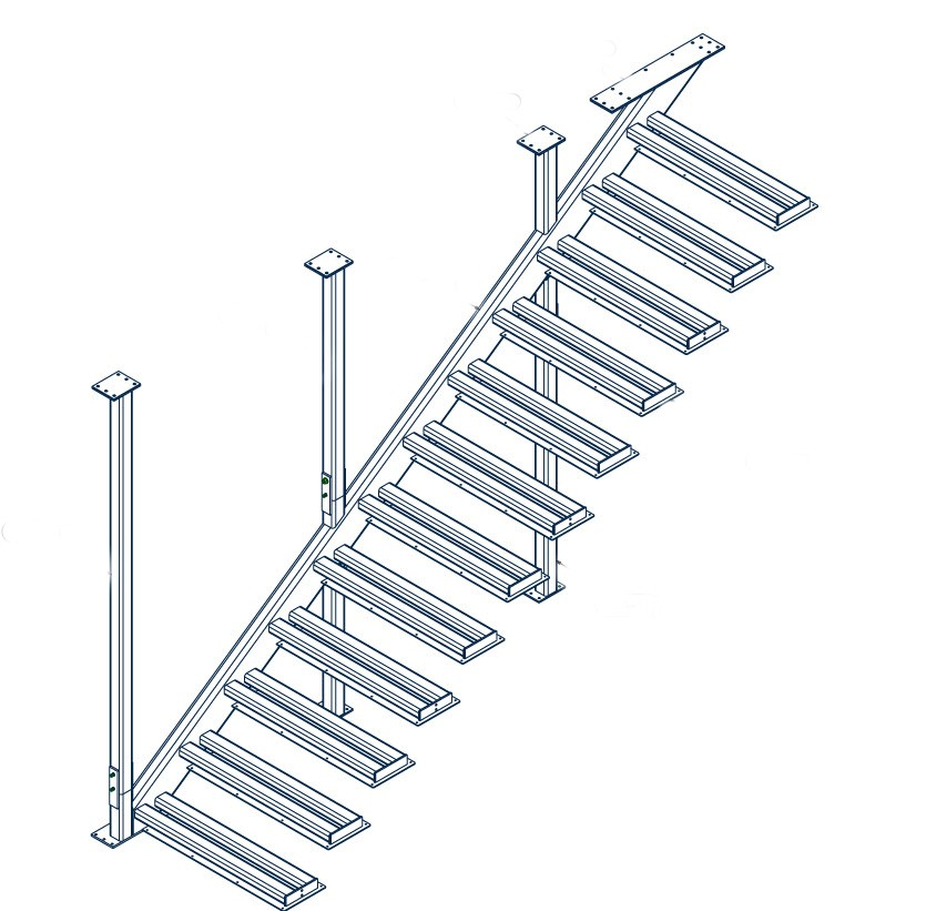Drawing showing the structure of the one story cantilevered stair with interior support structure.
