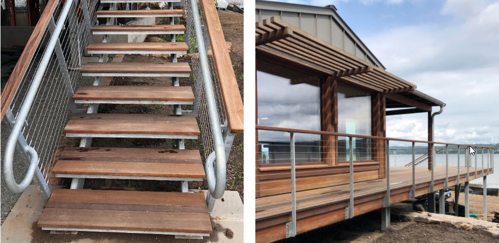 galvanized stair stringer with ada railing and deck railing