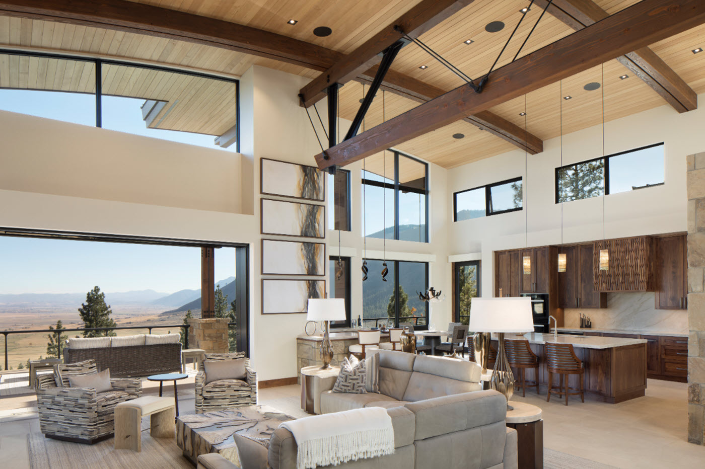 Open Concept Living Room and Kitchen with Contoured Ceilings