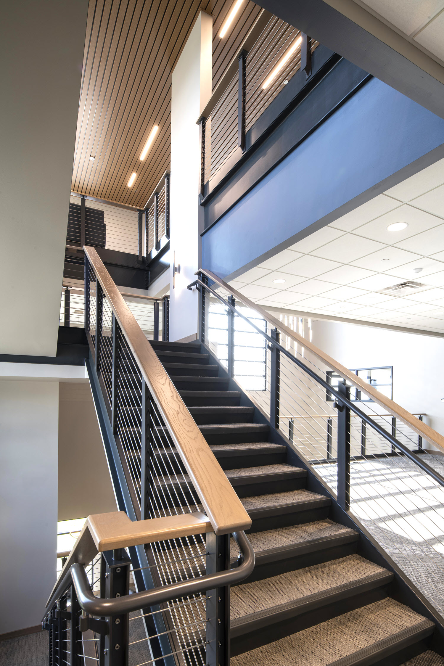 Cable railings on office staircase with ADA hand rails and wood top rail.