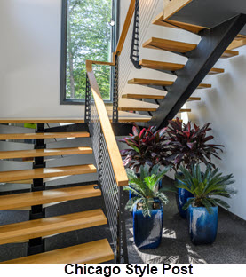 Floating Stair with mono stringer and Chicago Style Railing Post