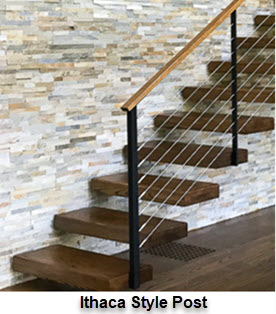 Ithaca style slim railing post example on cantilever stairs