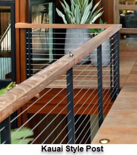 Kauai style straight railing posts with slim design