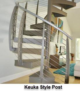 Keuka style Curved Railing Post on Spiral Stiars