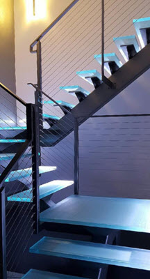 Glass Stairs with steel stringer and LED ligthing