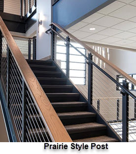 Prairie style railing posts with square steel channel appearance