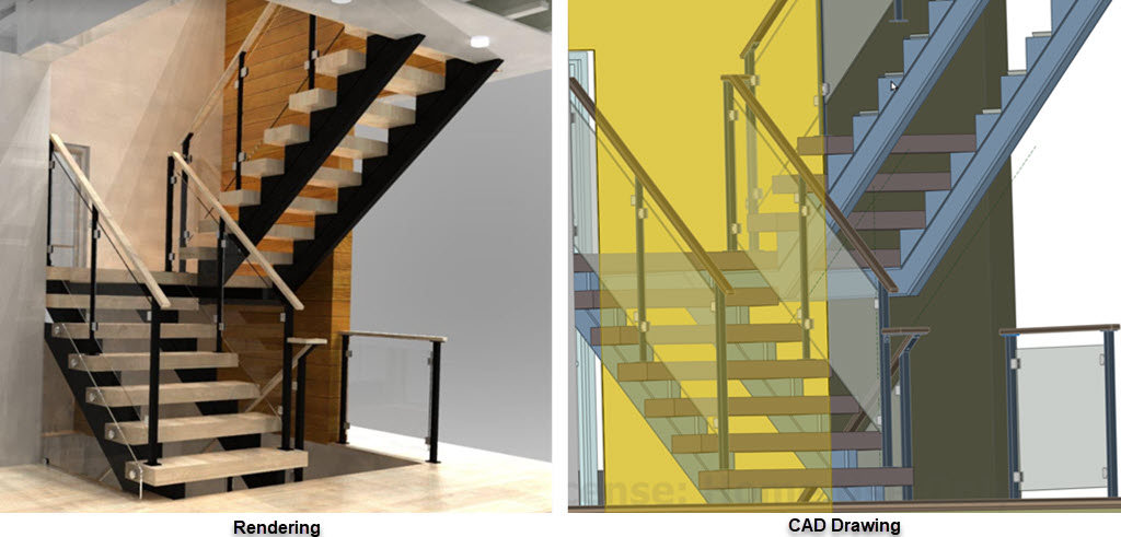 Realistic Rendering of Stair with Glass Railing and CAD drawing