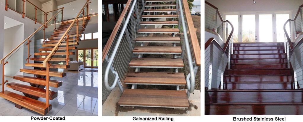 Powder Coat, galvanized and stainless railing finishes