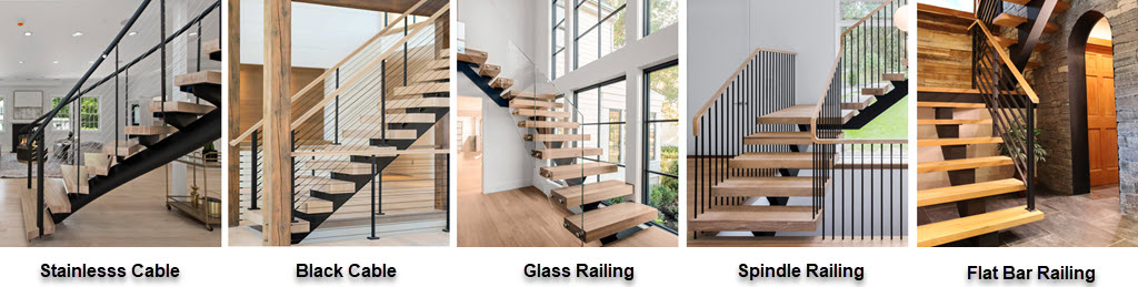 Cable, Black Cable, Glass, Spindle and flat bar stair railings