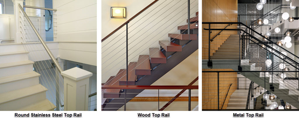 Top Rail choices for floating stairs and railings, round stainless steel, wood and metal
