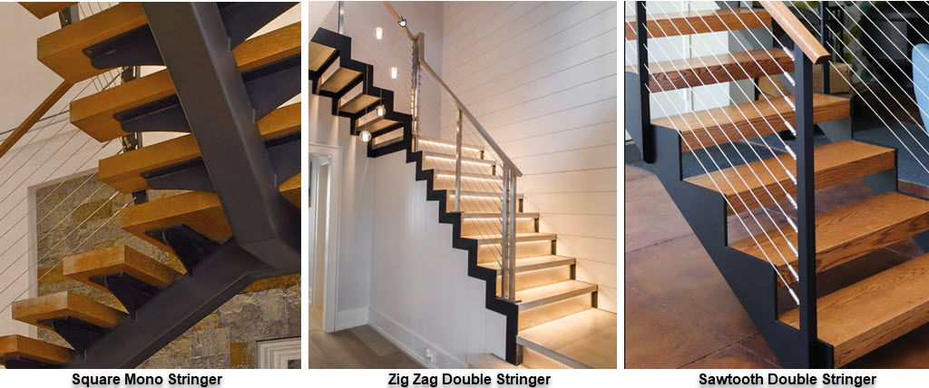 Types of floating stair stringers, square mono stringer, zig zag stringer and sawtooth stringer