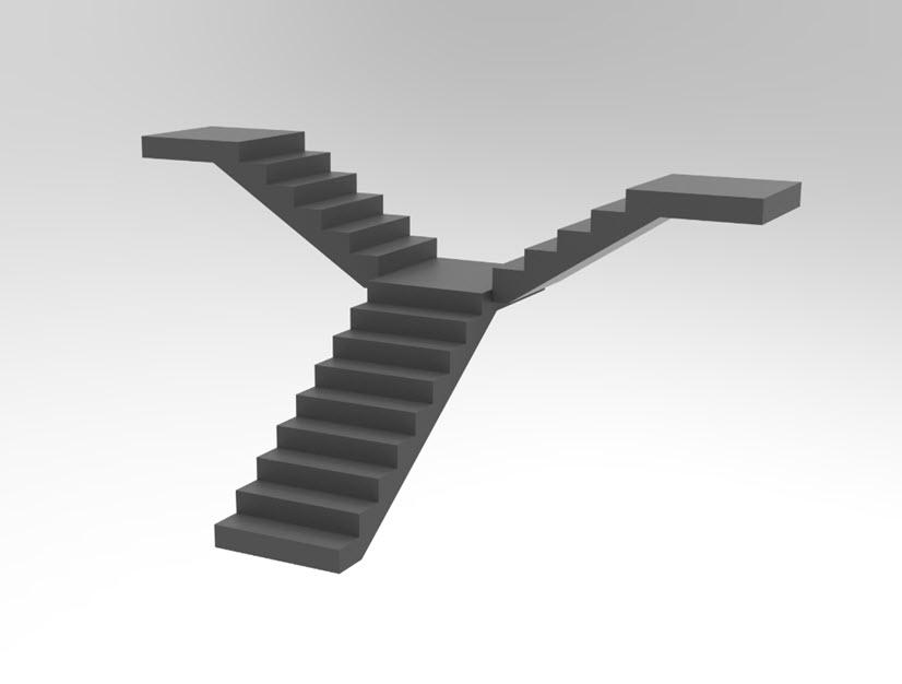 Illustration of split staircase