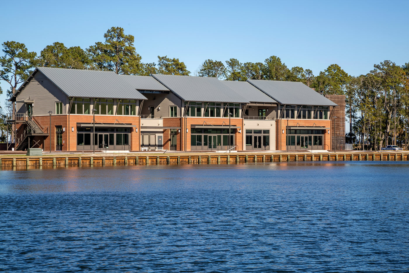 Modern Industrial style boat launch facility