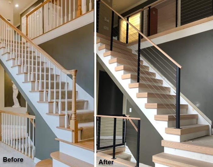 Traditional Cable Railing transitions to Modern cable railing on staircase