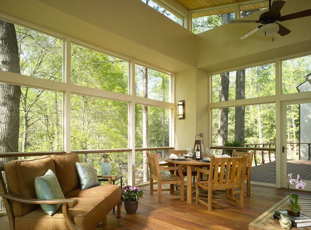 Screen Porch with floor to ceiling window and cable guardrail
