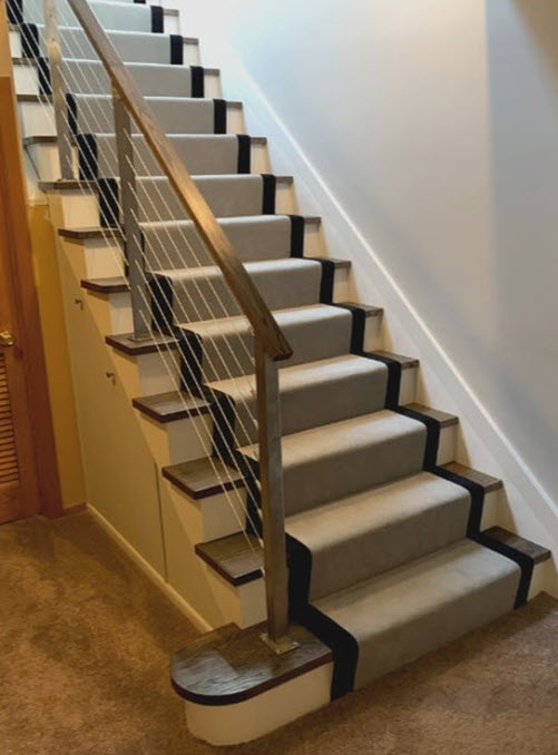 After image stairs with stainless steel cable railing