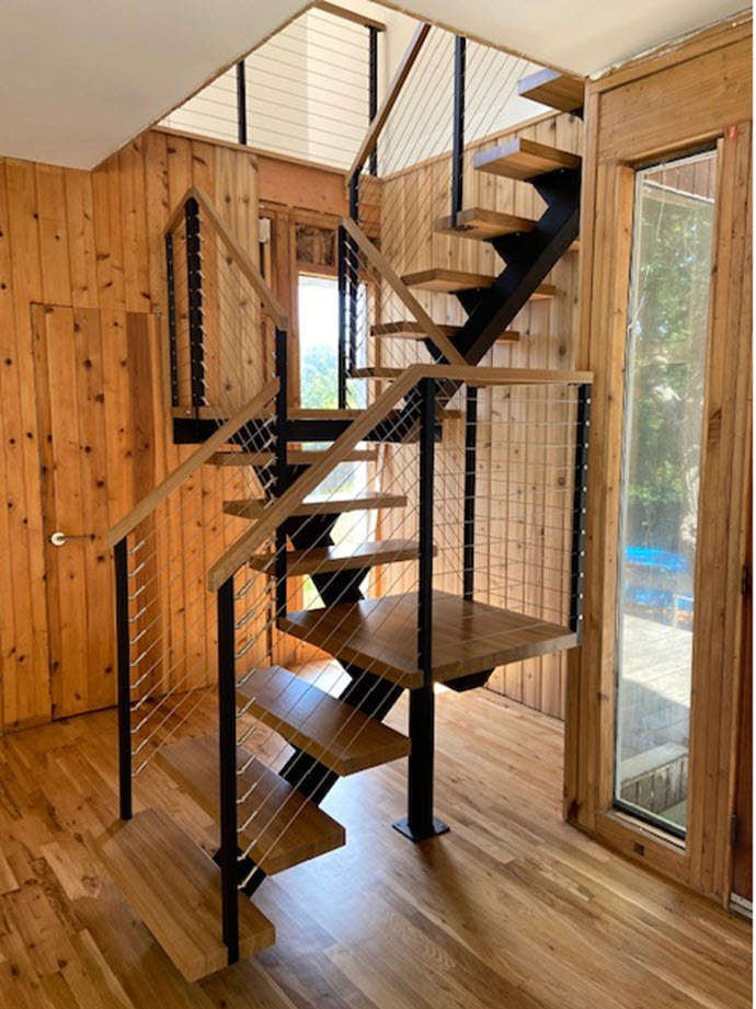 Updated switchback stairs with landings and wood treads