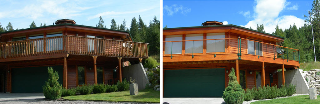 Before of wood spindle railings on log home. After image of the same house with painted green cable railing system.
