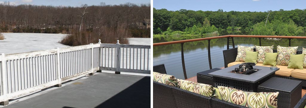 Before white painted wood railing on deck overlooking lake. After the same deck view with Curved cable railings.
