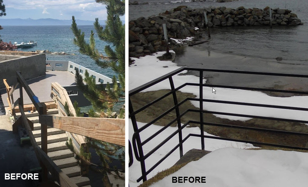 Before image of concrete pool deck and patio with old metal railing