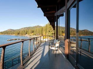 Keuka curved cable railing system on Villa Harrah Lake Tahoe