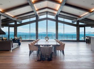 Modern dining room with views of Lake Tahoe