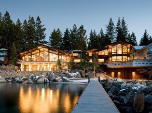 View of Villa Harrah on Lake Tahoe at Night